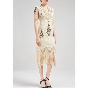 NWT Sheath Gold Ivory Small Sequin Flapper Dress